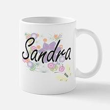 Sandra Artistic Name Design with Flowers Mugs