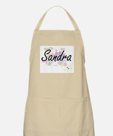Sandra Artistic Name Design with Flowers Apron