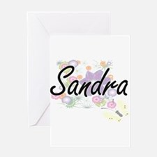 Sandra Artistic Name Design with Fl Greeting Cards