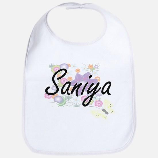 Saniya Artistic Name Design with Flowers Bib