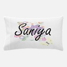 Saniya Artistic Name Design with Flowe Pillow Case