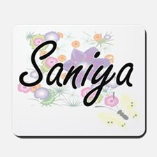 Saniya Artistic Name Design with Flowers Mousepad