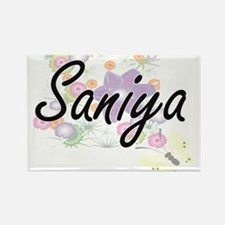 Saniya Artistic Name Design with Flowers Magnets