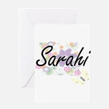Sarahi Artistic Name Design with Fl Greeting Cards