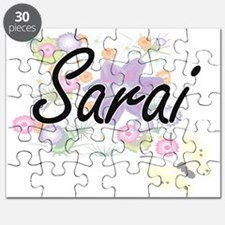 Sarai Artistic Name Design with Flowers Puzzle