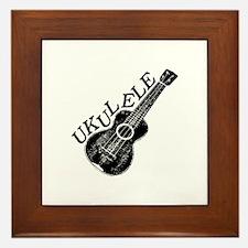 Ukulele Text And Image Framed Tile