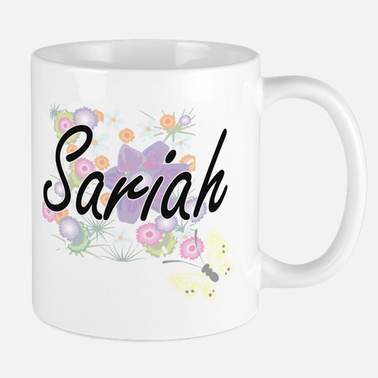 Sariah Artistic Name Design with Flowers Mugs