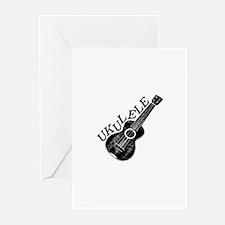 Ukulele Text And Image Greeting Cards