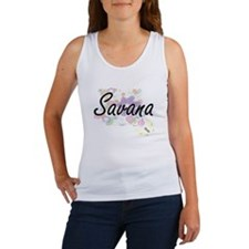 Savana Artistic Name Design with Flowers Tank Top