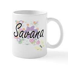 Savana Artistic Name Design with Flowers Mugs