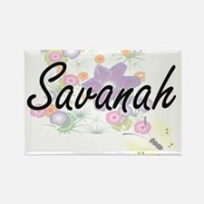 Savanah Artistic Name Design with Flowers Magnets