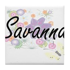Savanna Artistic Name Design with Flo Tile Coaster