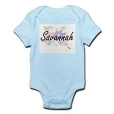 Savannah Artistic Name Design with Flowe Body Suit