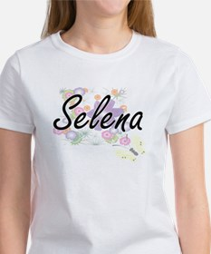 Selena Artistic Name Design with Flowers T-Shirt