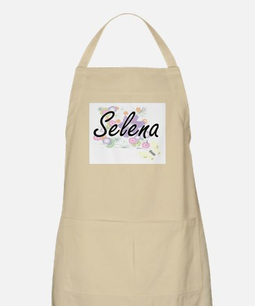 Selena Artistic Name Design with Flowers Apron