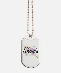 Shania Artistic Name Design with Flowers Dog Tags