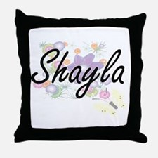 Shayla Artistic Name Design with Flow Throw Pillow
