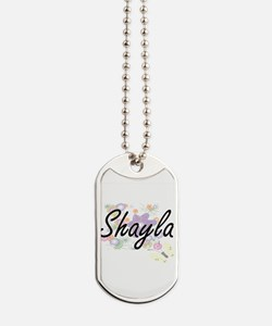 Shayla Artistic Name Design with Flowers Dog Tags