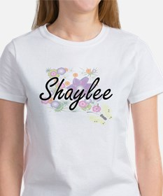 Shaylee Artistic Name Design with Flowers T-Shirt