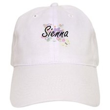 Sienna Artistic Name Design with Flowers Baseball Cap