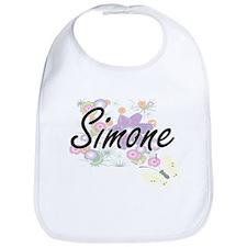 Simone Artistic Name Design with Flowers Bib