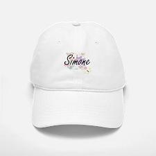 Simone Artistic Name Design with Flowers Baseball Baseball Cap