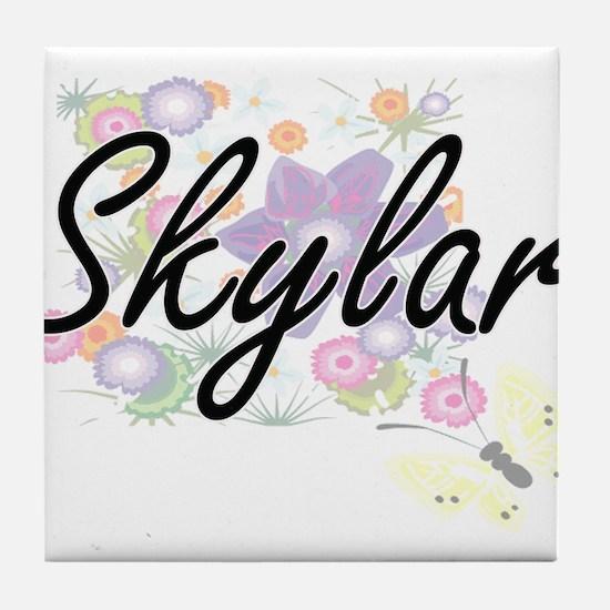 Skylar Artistic Name Design with Flow Tile Coaster