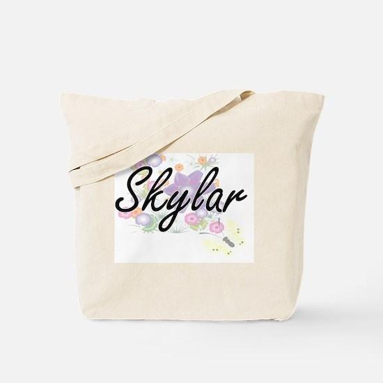 Skylar Artistic Name Design with Flowers Tote Bag