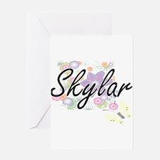 Skylar Artistic Name Design with Fl Greeting Cards