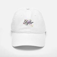 Skylar Artistic Name Design with Flowers Baseball Baseball Cap