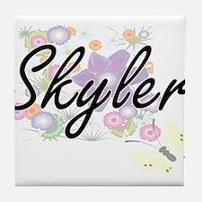 Skyler Artistic Name Design with Flow Tile Coaster
