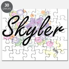 Skyler Artistic Name Design with Flowers Puzzle