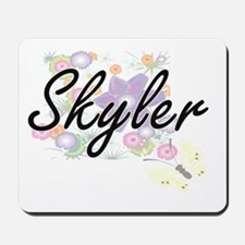Skyler Artistic Name Design with Flowers Mousepad