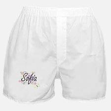 Sofia Artistic Name Design with Flowe Boxer Shorts
