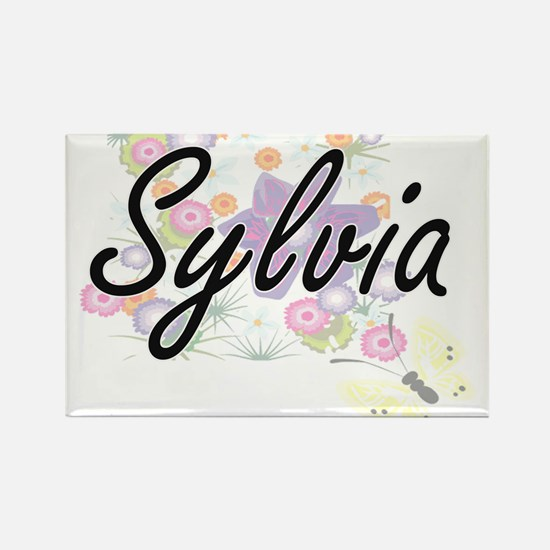 Sylvia Artistic Name Design with Flowers Magnets