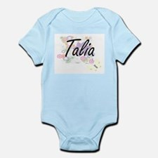 Talia Artistic Name Design with Flowers Body Suit