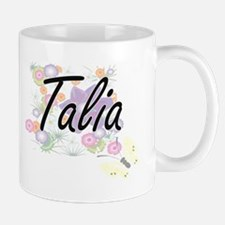 Talia Artistic Name Design with Flowers Mugs