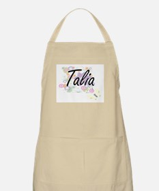 Talia Artistic Name Design with Flowers Apron