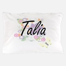 Talia Artistic Name Design with Flower Pillow Case