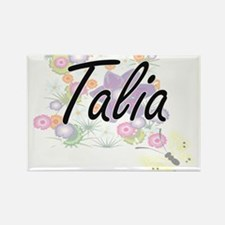 Talia Artistic Name Design with Flowers Magnets