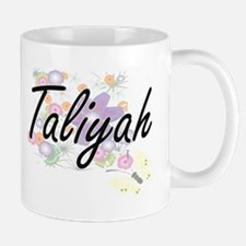 Taliyah Artistic Name Design with Flowers Mugs