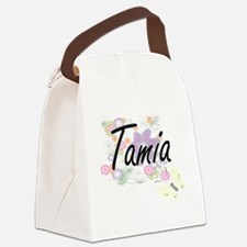 Tamia Artistic Name Design with F Canvas Lunch Bag