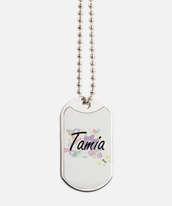 Tamia Artistic Name Design with Flowers Dog Tags