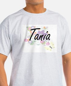 Tania Artistic Name Design with Flowers T-Shirt
