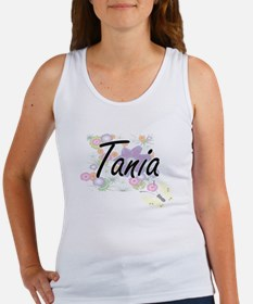 Tania Artistic Name Design with Flowers Tank Top