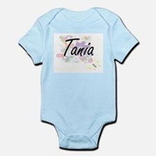 Tania Artistic Name Design with Flowers Body Suit