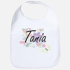 Tania Artistic Name Design with Flowers Bib