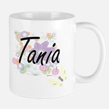 Tania Artistic Name Design with Flowers Mugs