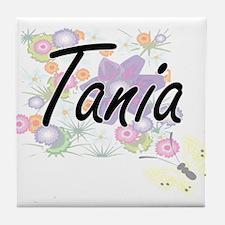Tania Artistic Name Design with Flowe Tile Coaster