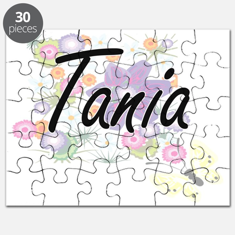 Tania Artistic Name Design with Flowers Puzzle